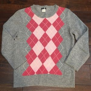 Beautiful J. Crew Pink & Grey Argyle Sweater Small